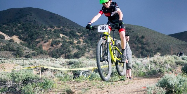 Middle school rider, Jackson, enjoying local race